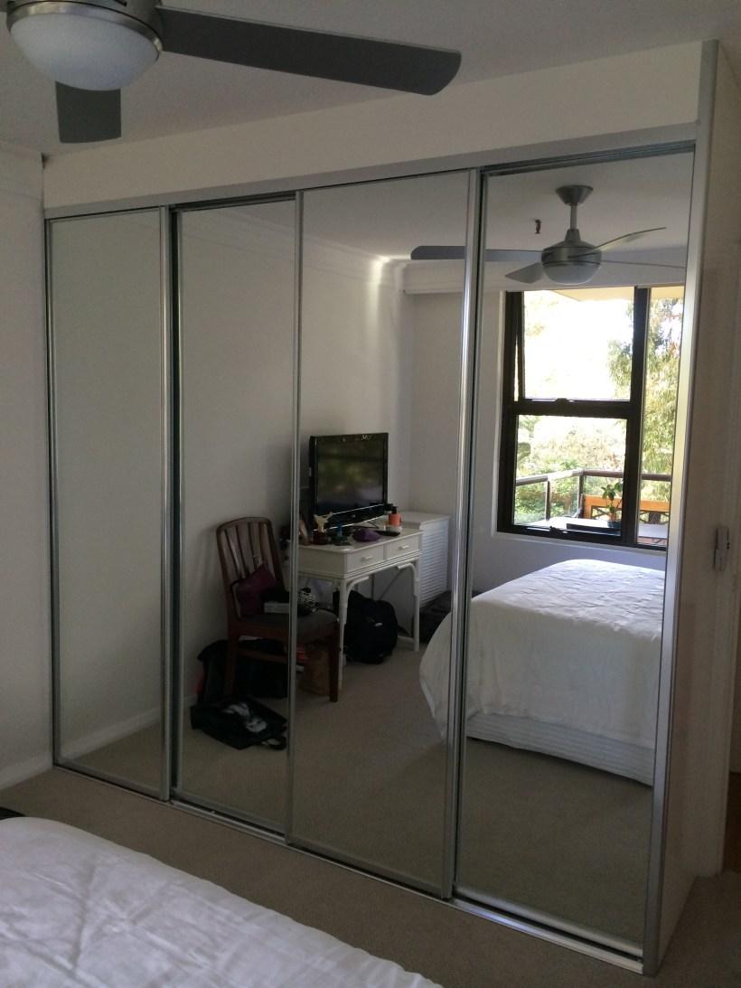 Silver Frame Mirror Sliding Wardrobe Doors Amtframe