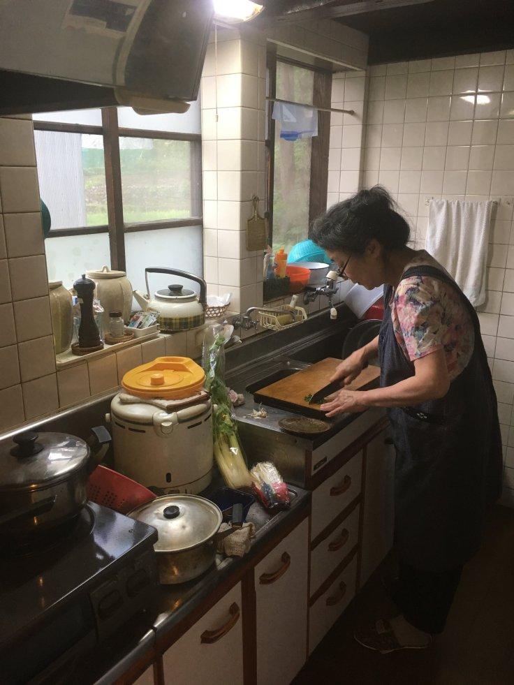 K. in her kitchen