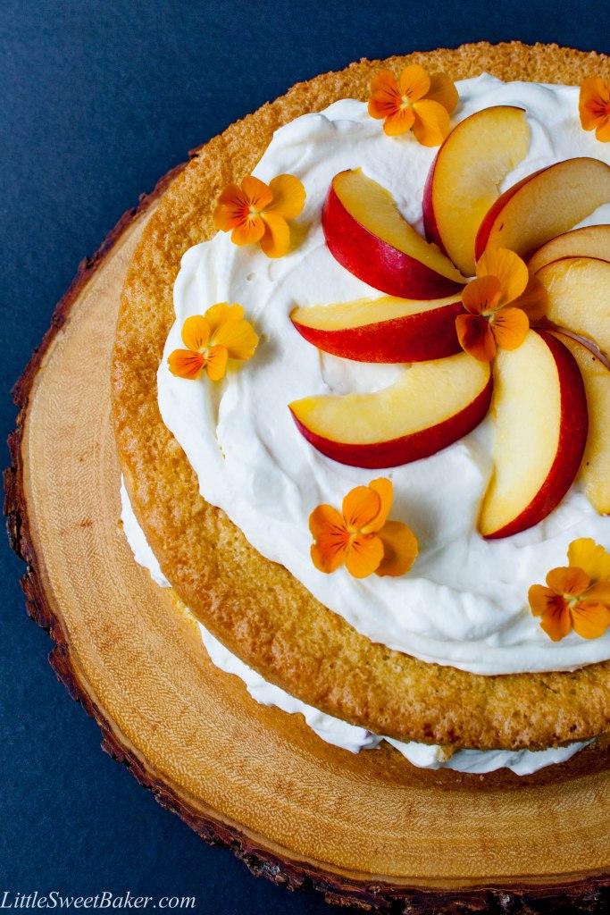 Peaches and Cream Cake via Little Sweet Baker