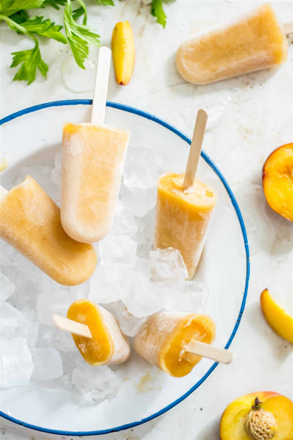 Peach and Celery Ice Lollies via Use Your Noodle