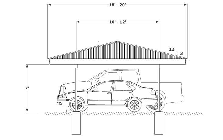 Even Gable Hip End Carport Structures Corp