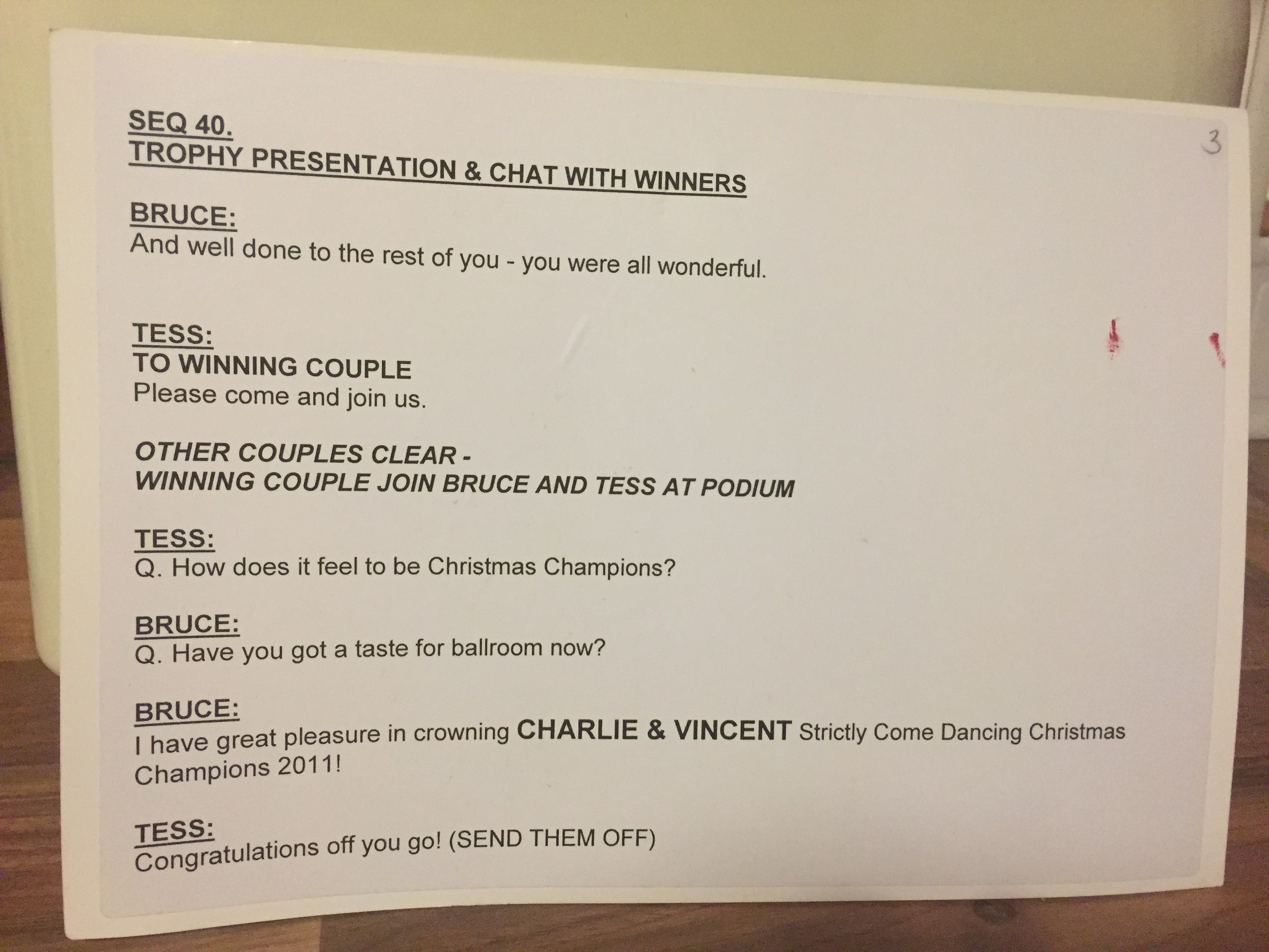 Christmas Strictly Cue Card