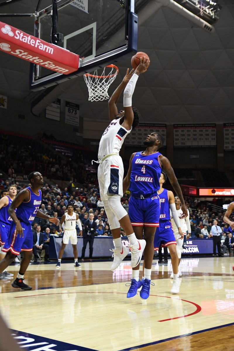 UConn men's basketball played against UMass Lowell Tuesday night in Gampel Pavilion. The team ended the game 9-75. Their next game is Sunday against Arizona in the XL Center (Nicholas Hampton/The Daily Campus)