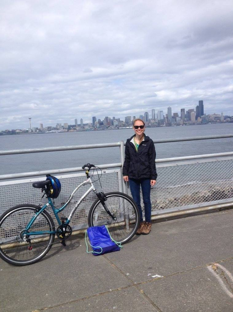 Heather biking at Alki Beach back in May
