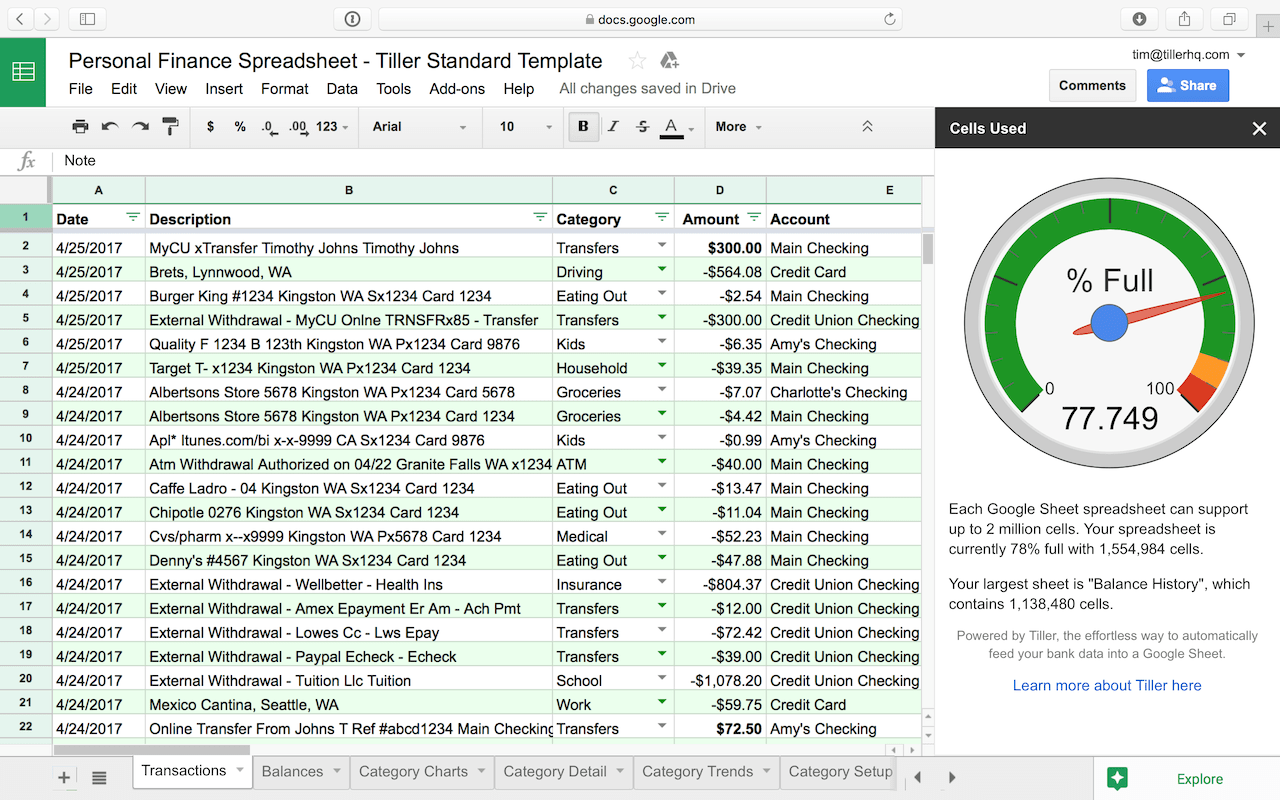 How Many Cells Are In My Google Sheet? - Tiller Money