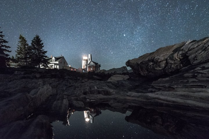 Pemaquid Point Lighthouse, Maine. This wide-angle view of the oft-photographed lighthouse shows relatively little stellar movement in the northern part of the sky on the left side of the frame, and much more to the east on the right side of the frame (see detail photos, below). Nikon D750, Zeiss 21mm f/2.8 lens. 30 seconds, f/4, ISO 6400.
