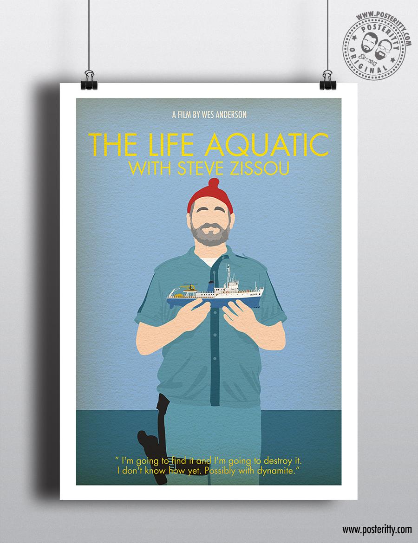 poster the life aquatic wes anderson minimalist mare sottomarino arte graphics kunst autrement dit antiquitaten kunst