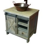 Barnwood Vanity With Sliding Crossbuck Door Vienna Woodworks