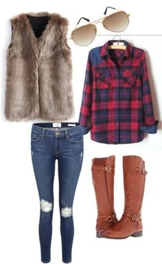 Fur, lumberjack plaid, jeans, and boots make for a care-free, rustic look. Throw this outfit together, and you're all set for a trip to the bush.