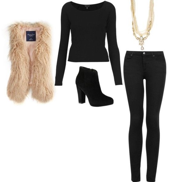 Black on black with a black heeled boot and a light-colored faux fur vest will have heads turning all night.