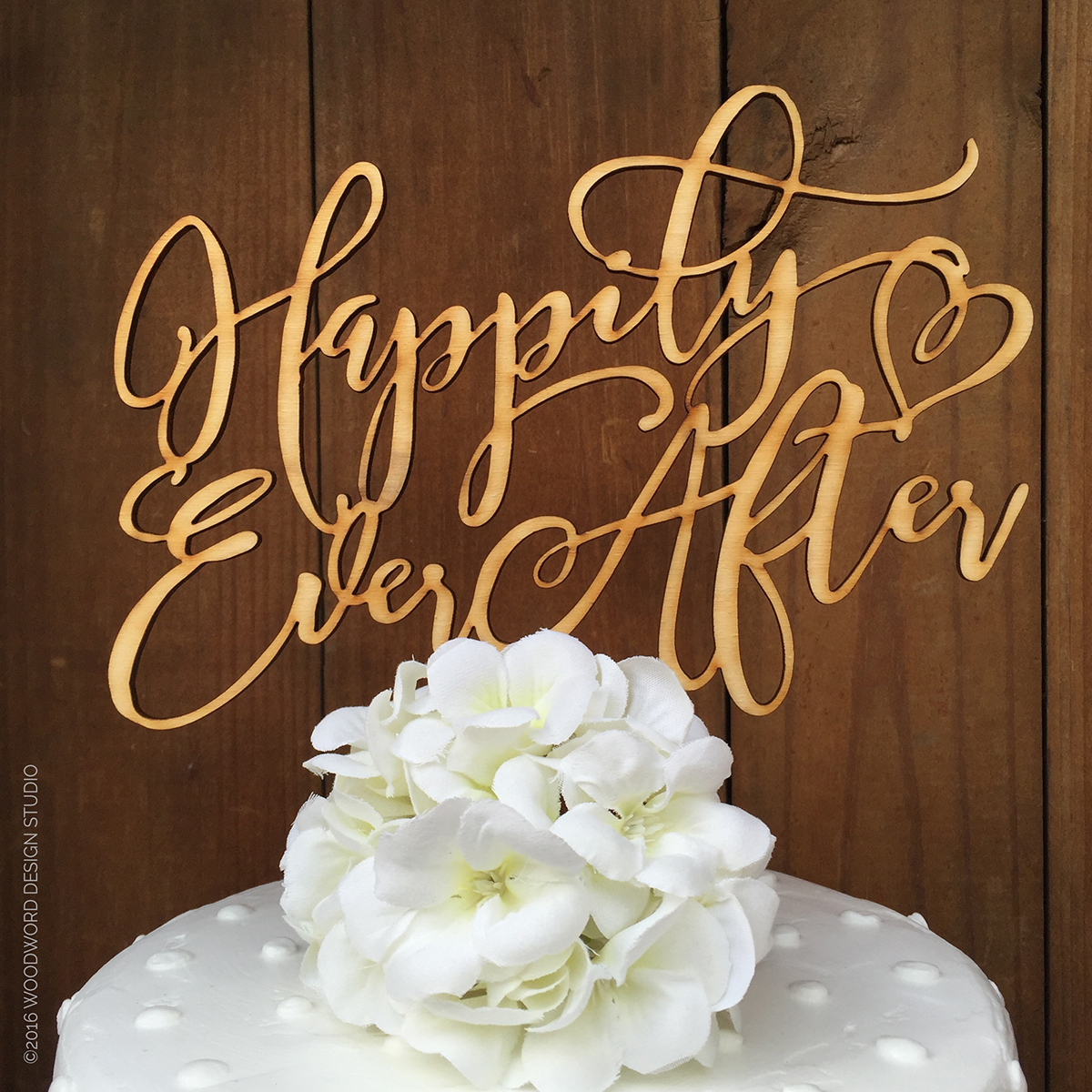 Happily Ever After with Heart Wedding Cake Topper     Woodword Design     Happily Ever After with Heart Wedding Cake Topper