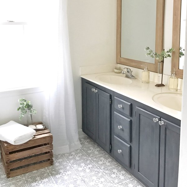 Plum Pretty Decor   Design Co How to Paint Your Linoleum or Tile     DIY Tutorial  How to Paint Your Linoleum or Tile Floors to Look Like  Patterned Cement