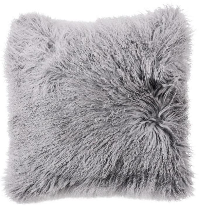 mongolian sheepskin fur pillow light grey furs forever