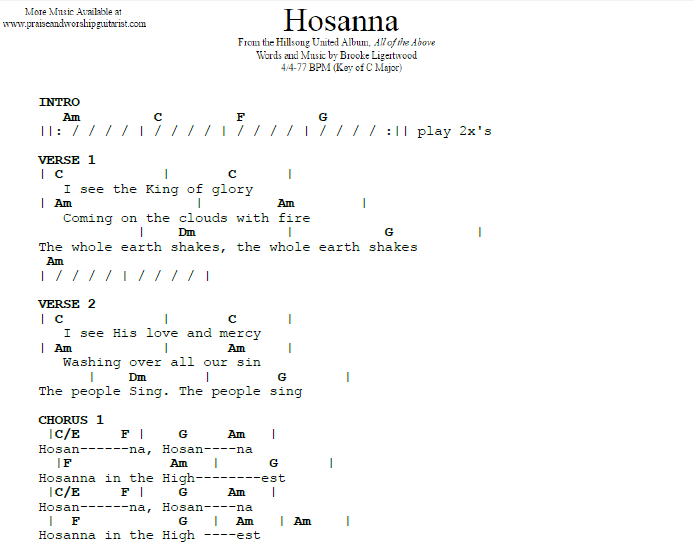 Hosanna Guitar Chords Image Collections Guitar Chord Chart With