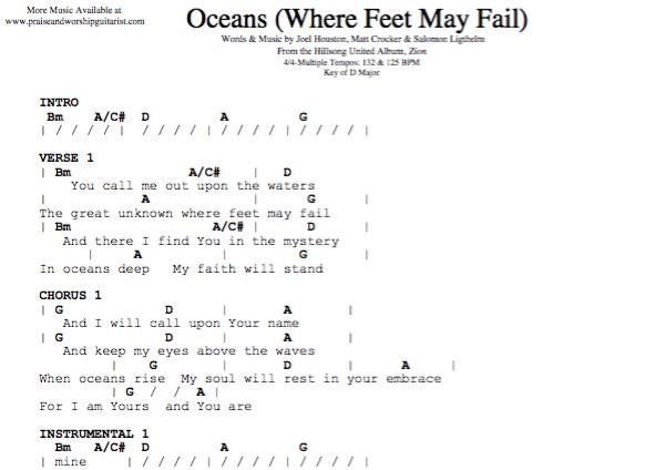 Oceans: D Major (Original Key) — Praise & Worship Guitarist