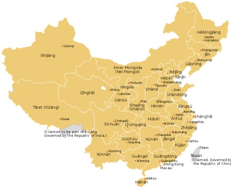 Map of China for your reference