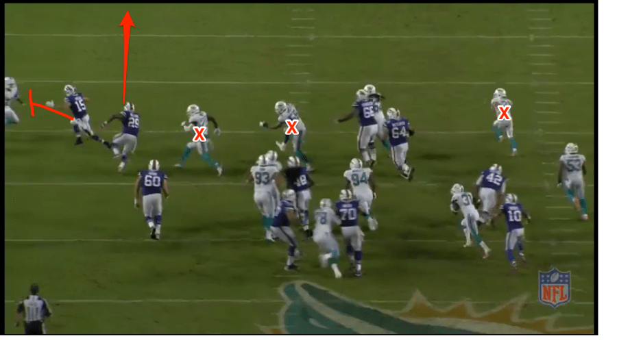 SS Jones, LB Misi and the playside CB Grimes have no shot of catching the rook! Off to the races.