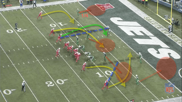 -This was a big play that the Bills would've probably scored on. -Jets are in a version of Cover 4. The safeties are reading the #2 Wrs to their side. If they run in/out breaking routes they let them go. If they run vertical routes they run with them. Safety on bottom of screen sees #2 run an out route so he picks up the slant by the #1 WR. -Sammy is the primary in the slot. The safety is reading the #2 WR. He runs a crossing route and Sammy runs a vertical stem so he and the slot DB (1/4 field) have Sammy bracketed. Sammy runs an in route but he and Woods trip over each other.