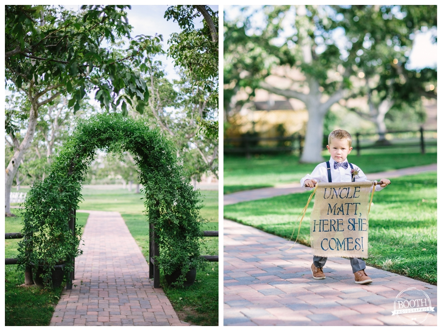 Here comes your bride ring bearer sign at a Moorpark, CA walnut grove wedding