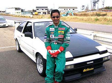 Keiichi Tsuchiya and his Hot Version AE86.
