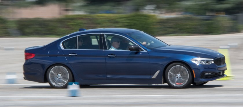 At speed in a BMW 5 Series at the BMW Ultimate Driving Experience