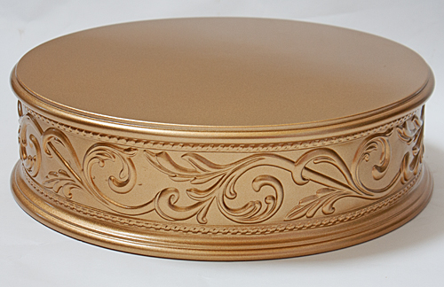 Gold Embossed Cake Plateau     Wedding cake stands crafted in the U S A Gold Embossed Cake Plateau  Gold Wedding Cake Stand