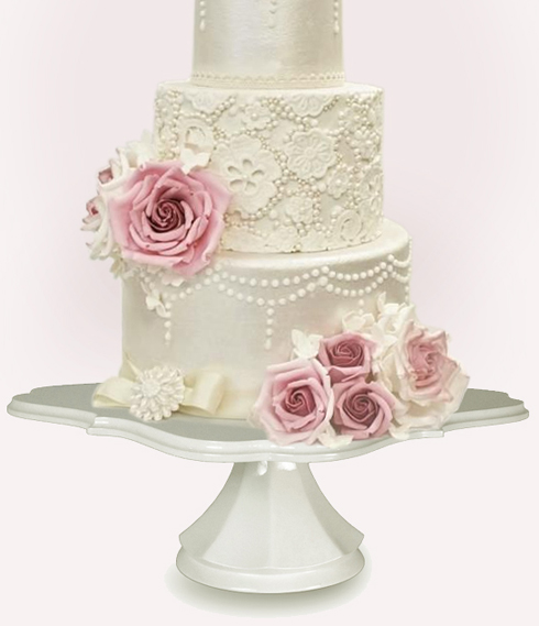 Wedding cake stands crafted in the U S A Traditional White Decosquare Wedding Cake Pedestals  129 00