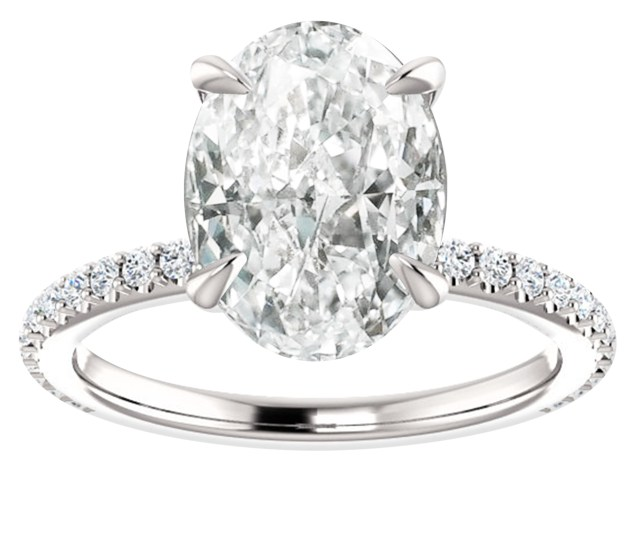 Hugo Haan Platinum Gia Certified Oval Diamond Accented Shank Solitaire Engagement Ring