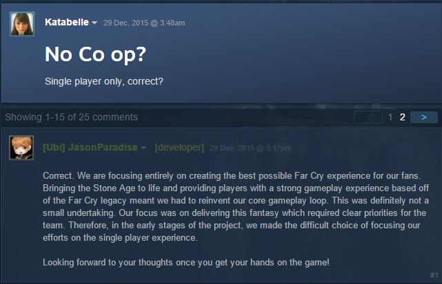 Paradise's post on the game's Steam page.