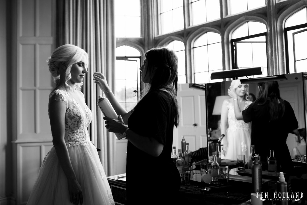 Bride getting ready at Leeds castle