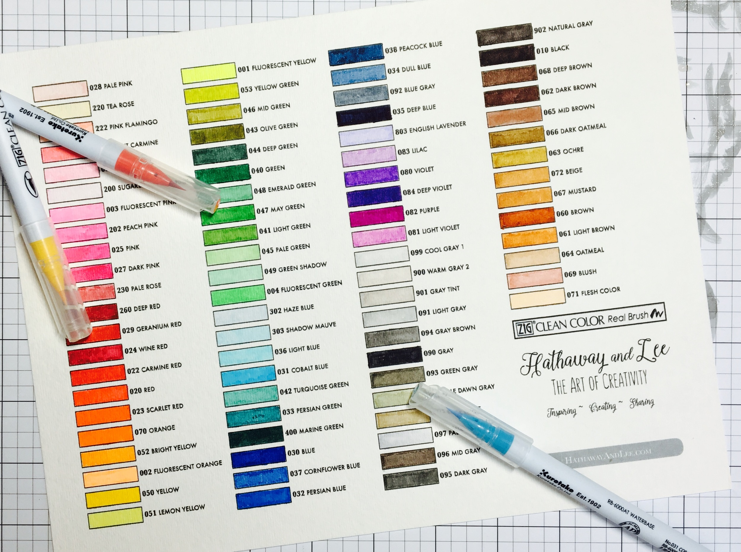 Tombow Markers Color Chart