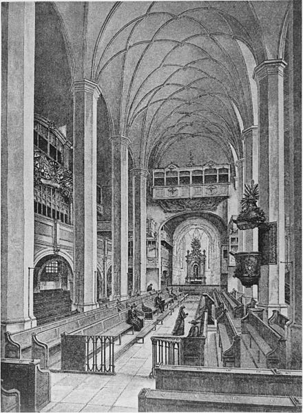 A mid-19th-century etching of Thomaskirche in Leipzig. Image credit: Wikimedia Commons.