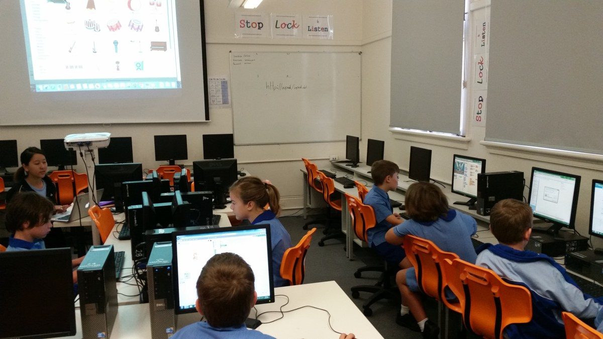 Primary school students learning to build own computer games and animations.