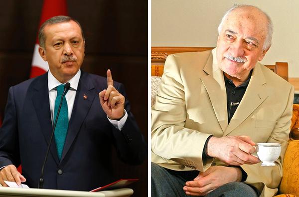 Turkish President Recep Tayyip Erdoğan (L), and Fethullah Gülen.