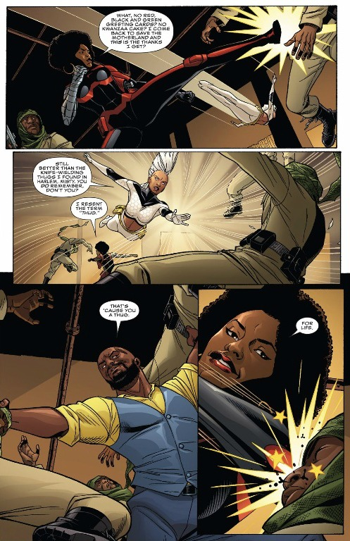 Luke Cage, Misty Knight and Storm handle