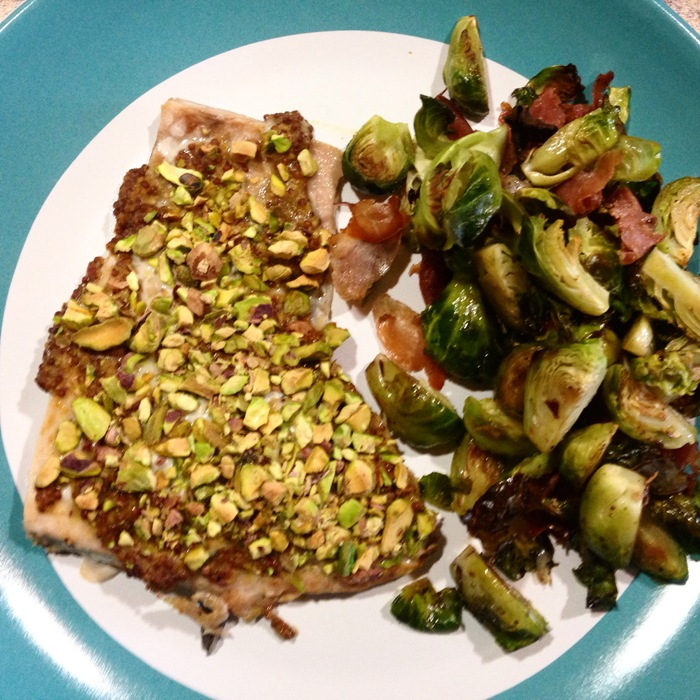 Pistachio crusted salmon and brussel sprouts