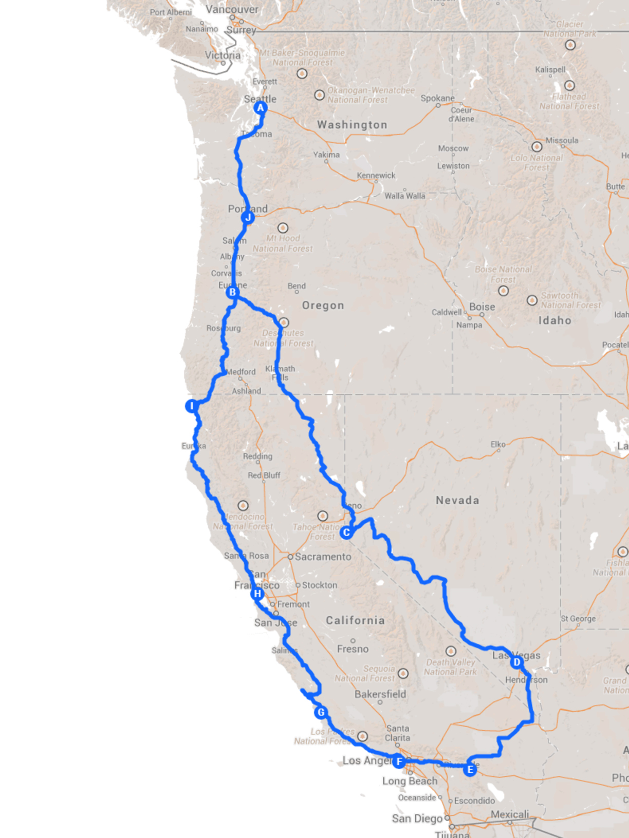 Drivin  West   A Road Trip to Los Angeles via Las Vegas     MATTHEW C     Route Map