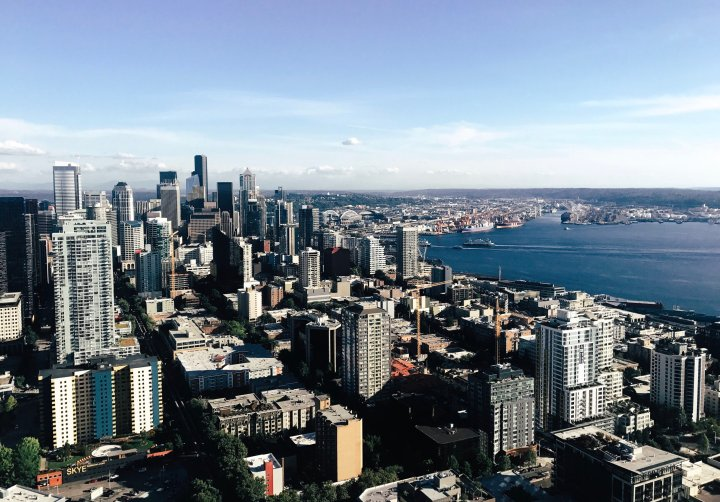 Downtown Seattle from the top floor of the Space Needle!