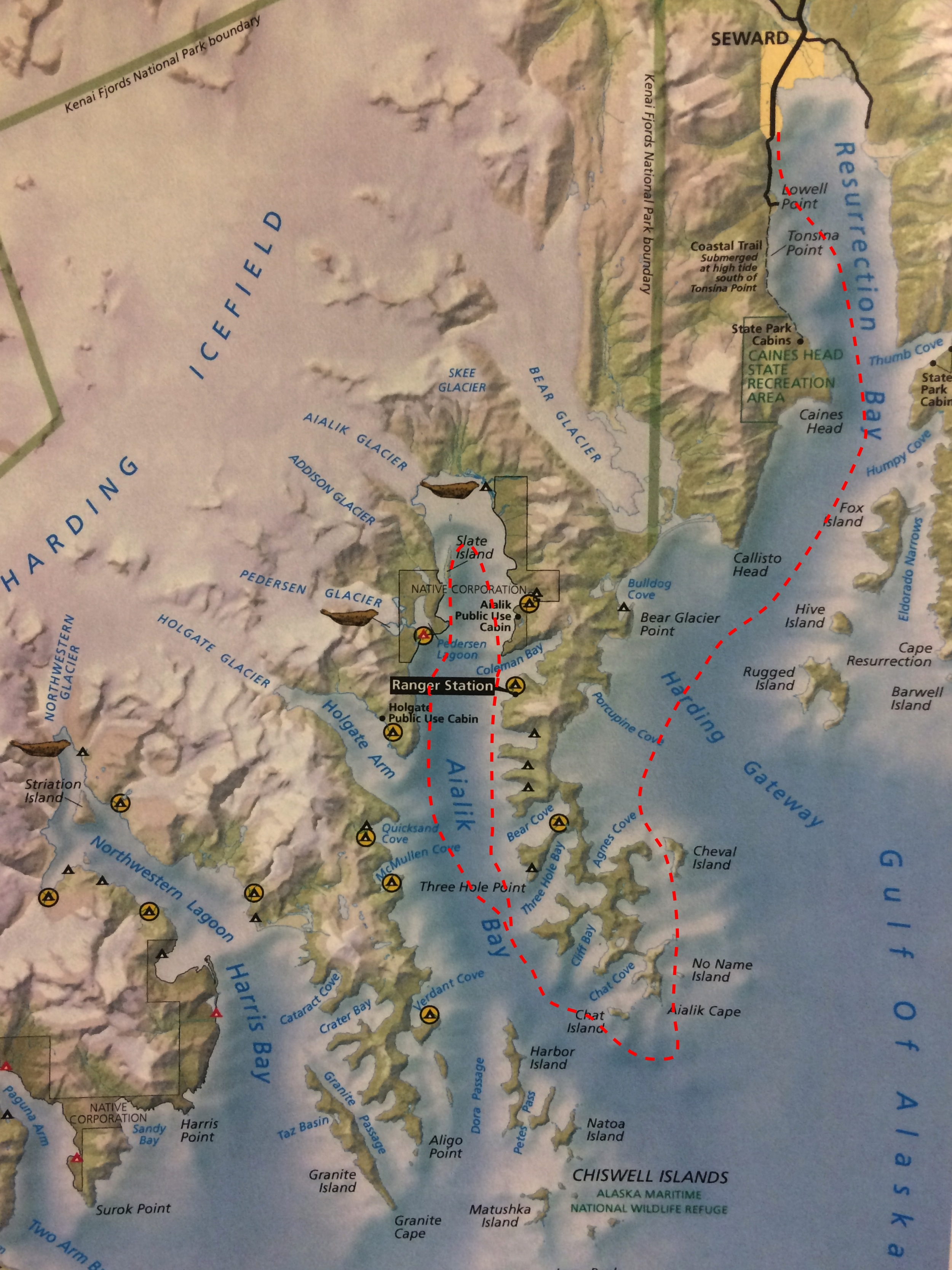 Alaska Mothership Trips   3 to 4 Day Aialik Bay Mothership Trip 3 to 4 Day Trip Map