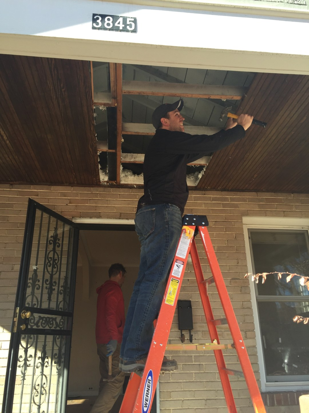 Removing old beadboard to reuse on our new deck