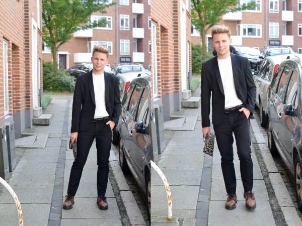 Kostym och t-shirt - H&M Trend | Skor - Dr.Martens | Väska - Gucci | Skärp - Tiger of Sweden