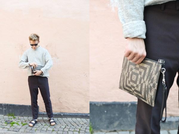 Stickad tröja - H&M   Byxor - H&M Trend   Skor - Birkenstock   Väska - Gucci   Solglasögon - Prada