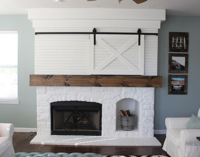 FIREPLACE MAKEOVER WITH BARN DOOR