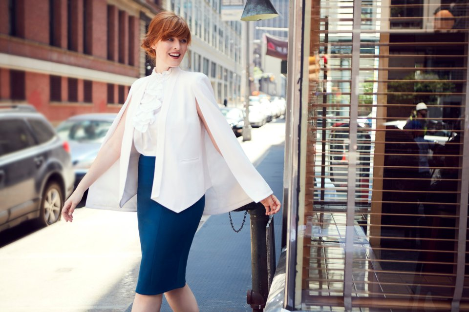 Josephine Cape Blazer over Emily Skirt with built-in derriere boosting shapewear lining.jpeg