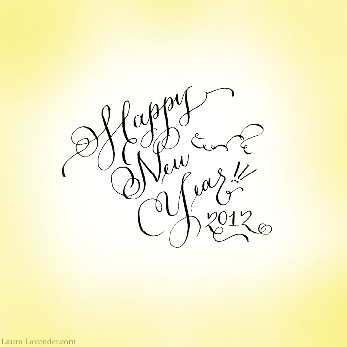 Happy New Year        LAURA LAVENDER CALLIGRAPHY  ILLUSTRATION   DESIGN Hand Lettered Calligraphy Logo Design