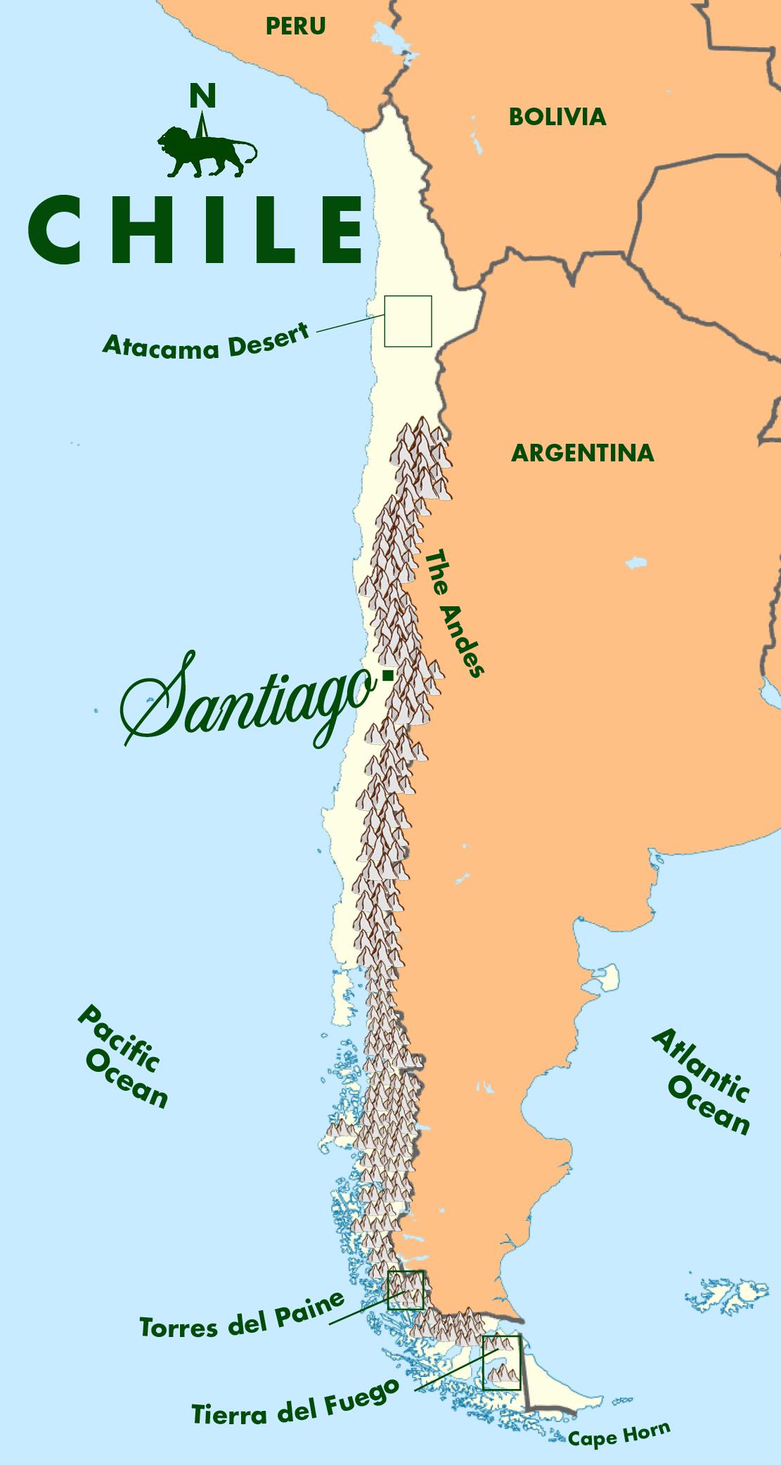 Latin America Atacama Desert Map