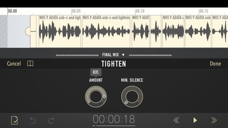image Podcast Editing Gets Easier on iOS with Ferrites Tighten Feature.