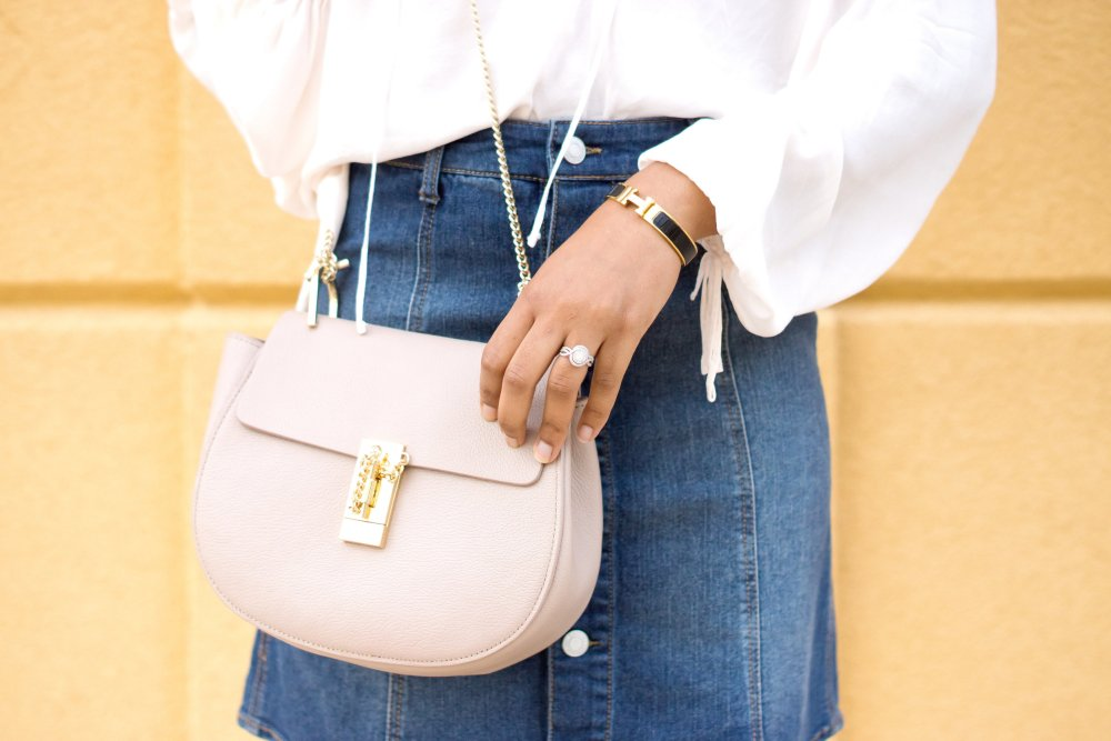 denim skirt chloe bag hermes bracelet black dallas fashion blogger stephanie taylor jackson