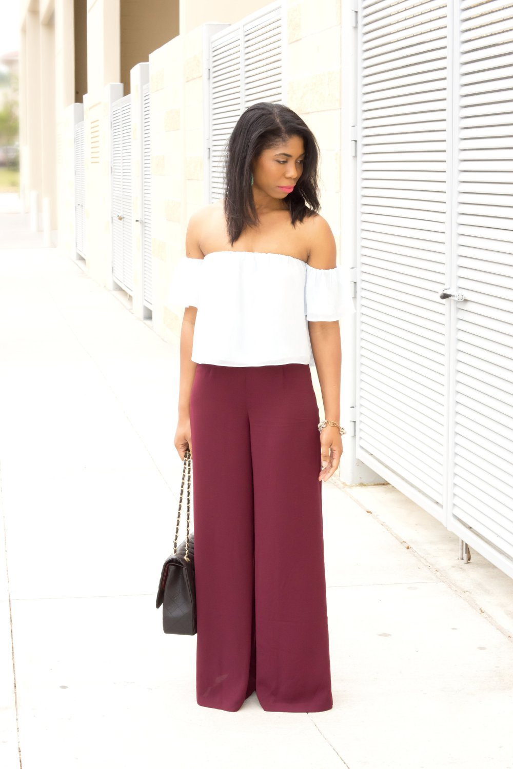 off the shoulder blouse wide leg pants black fashion blogger dallas blogger stephanie taylor jackson