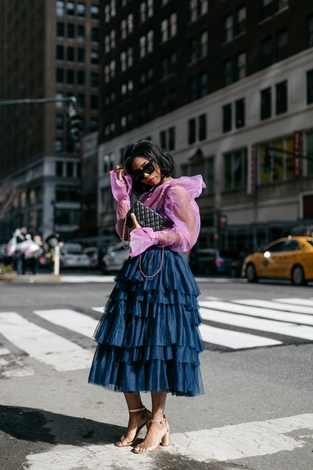 trends to follow fashion week new york street style tulle skirt sheer blouse